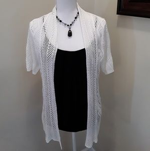 CATO white open front cardigan sweater size L